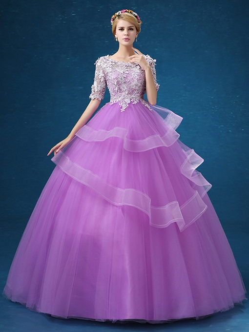 Ericdress Half Sleeves Ball Gown Scoop Lace Floor-Length Quinceanera Dress