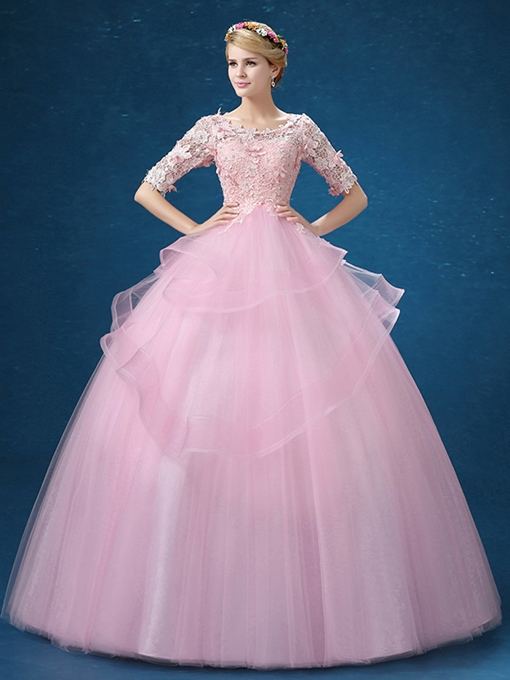 Ericdress Half Sleeves Ball Gown Scoop Neck Beading Lace Quinceanera Dress
