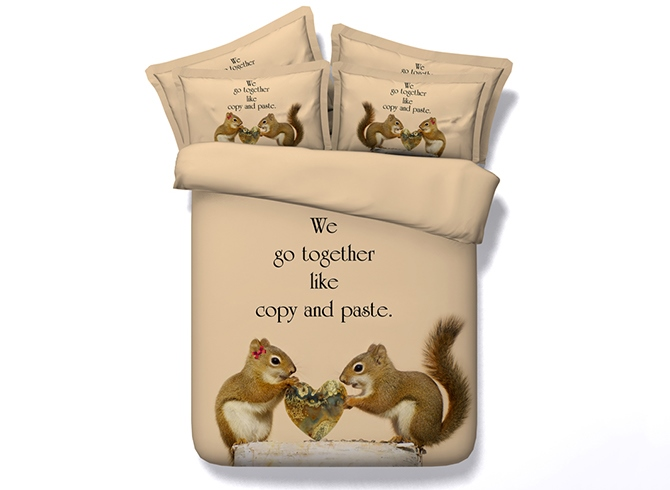 Squirrel Lovers Printed Cotton 3D 4-Piece Camel Bedding Sets/Duvet Covers