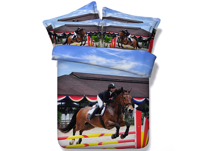 Horse and Rider Printed Cotton 4-Piece 3D Bedding Sets/Duvet Covers