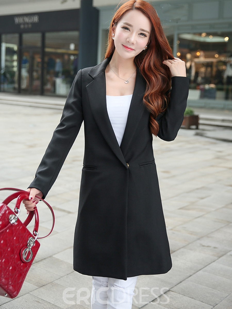 Ericdress Solid Color Mid-Length Blazer