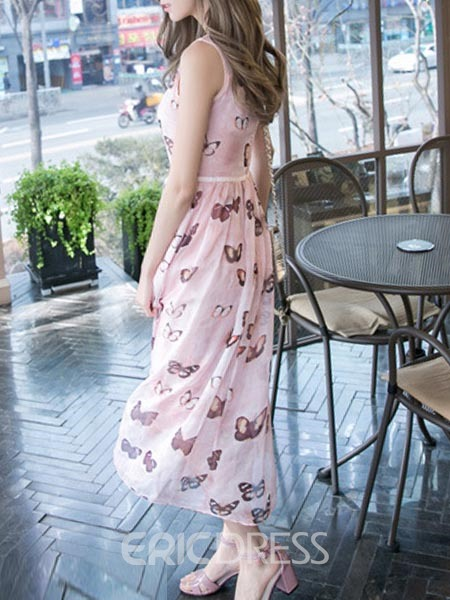 Ericdress Silk Sleeveless Print Maxi Dress