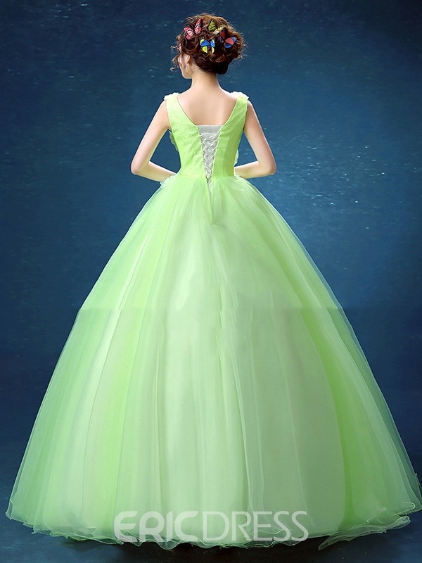 Ericdress V-Neck Ball Gown Pearls Flowers Floor-Length Quinceanera Dress