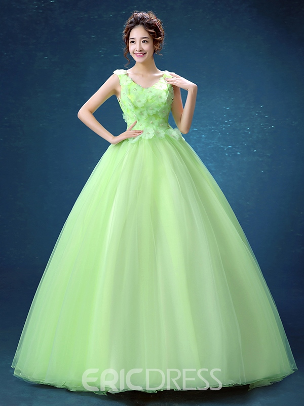d2dcb89de2 Ericdress V-Neck Ball Gown Pearls Flowers Floor-Length Quinceanera Dress ...