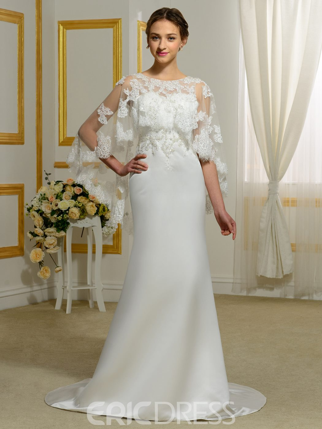 Ericdress Exquisite Backless Sheath Wedding Dress With Cape
