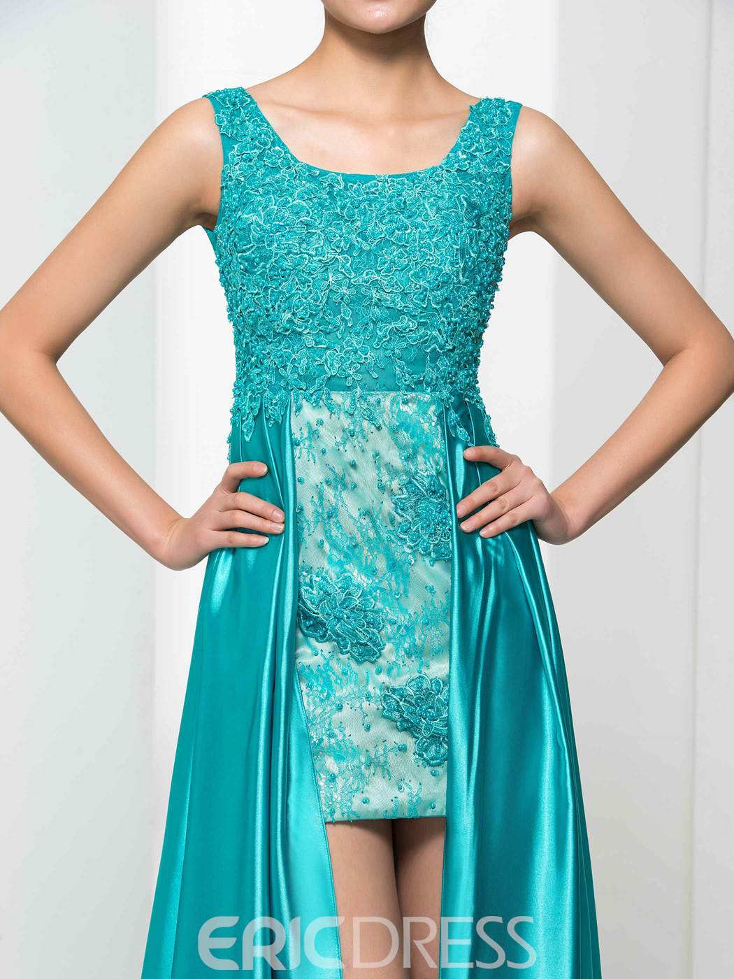 Ericdress Square Neck Appliques Beading High Low Prom Dress