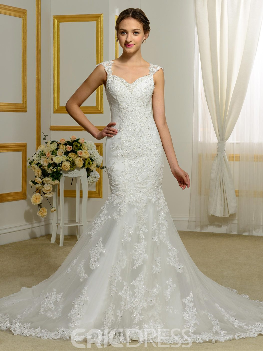 Ericdress Elegant Straps Appliques Mermaid Wedding Dress