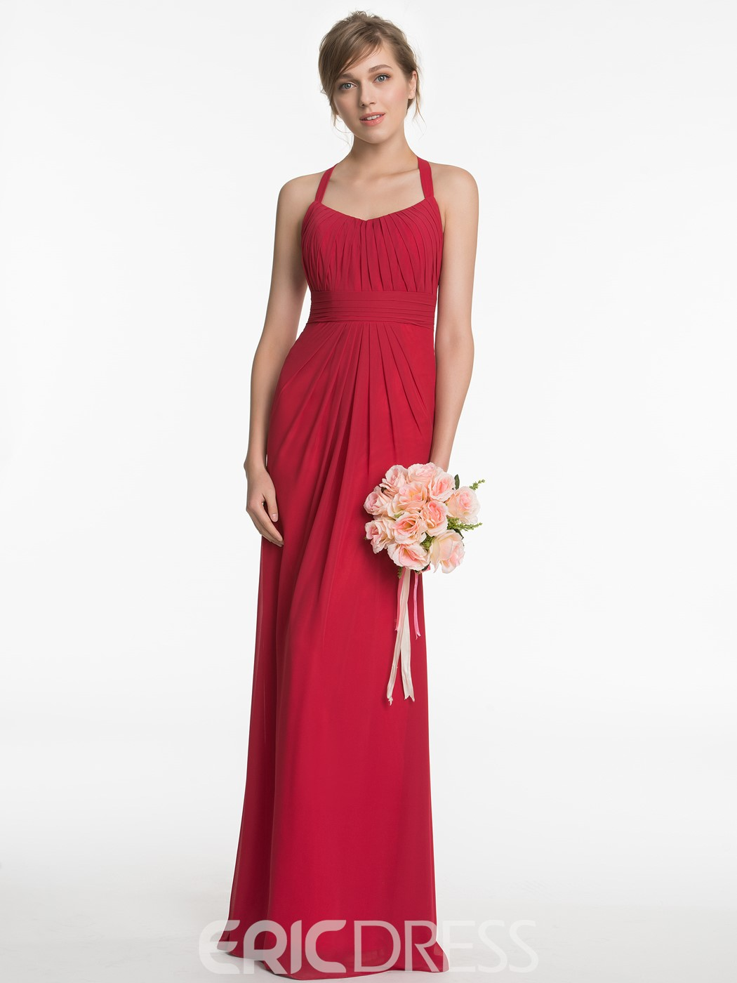 Ericdress Elegant Halter A Line Chiffon Bridesmaid Dress
