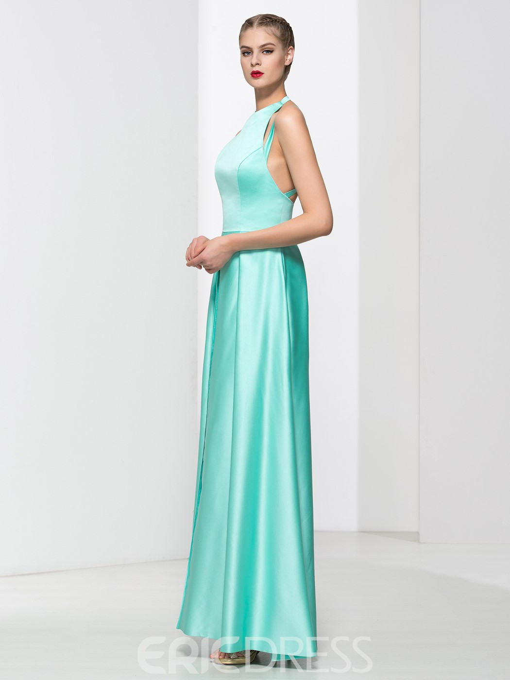 Ericdress Jewel Neck Split-Front Long Prom Dress