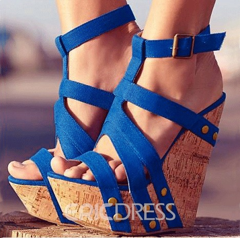Ericdress Blue Rivets Decoration Wedge Sandals
