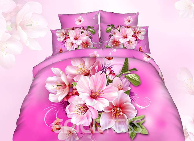 Vivilinen 3D Pink Peach Blossom Printed Cotton 4-Piece Bedding Sets/Duvet Cover