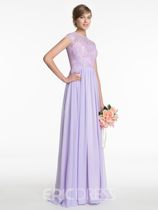 Ericdress Beautiful Jewel Short Sleeves Lace Long Bridesmaid Dress