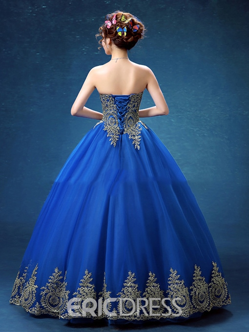 Ericdress Sweetheart Ball Gown Appliques Floor-Length Quinceanera Dress