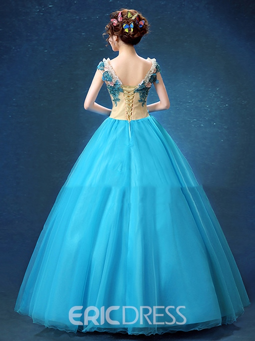 Ericdress Scoop Ball Gown Appliques Beading Lace Quinceanera Dress