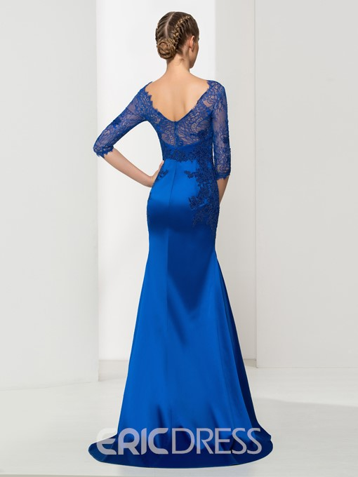 Ericdress Bateau Neck Appliques Mermaid Lace Evening Dress