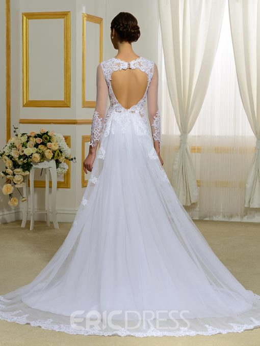 Ericdress Long Sleeves Appliques Backless Mermaid Wedding Dress