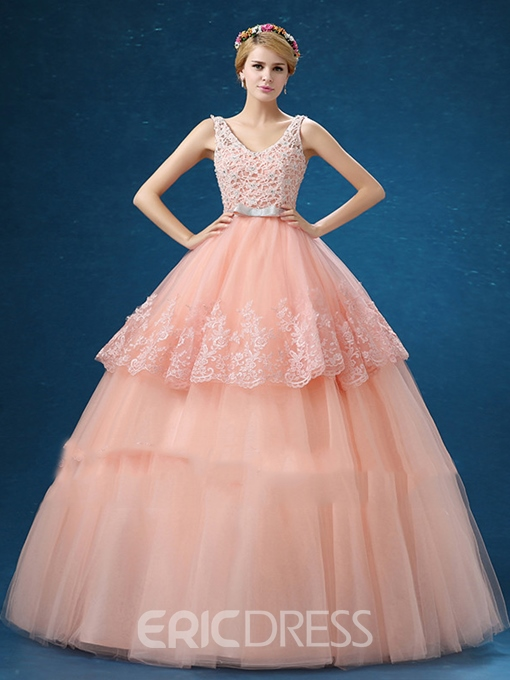 Ericdress V-Neck Ball Gown Beading Lace Tiered Floor-Length Quinceanera Dress
