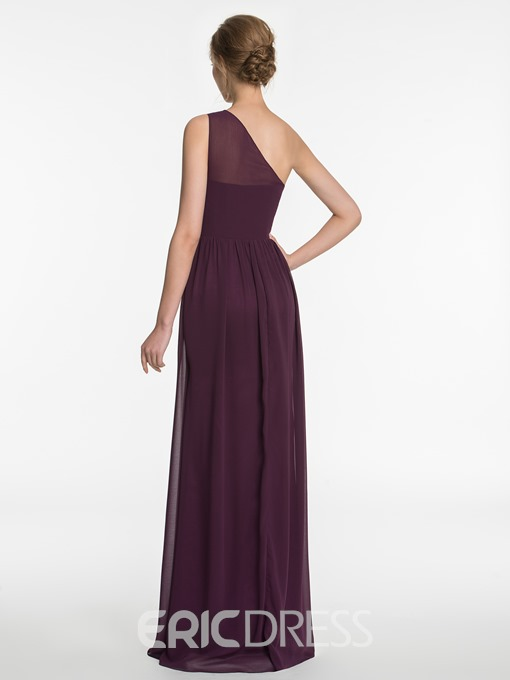 Ericdress Beautiful Beading One Shoulder A Line Long Bridesmaid Dress