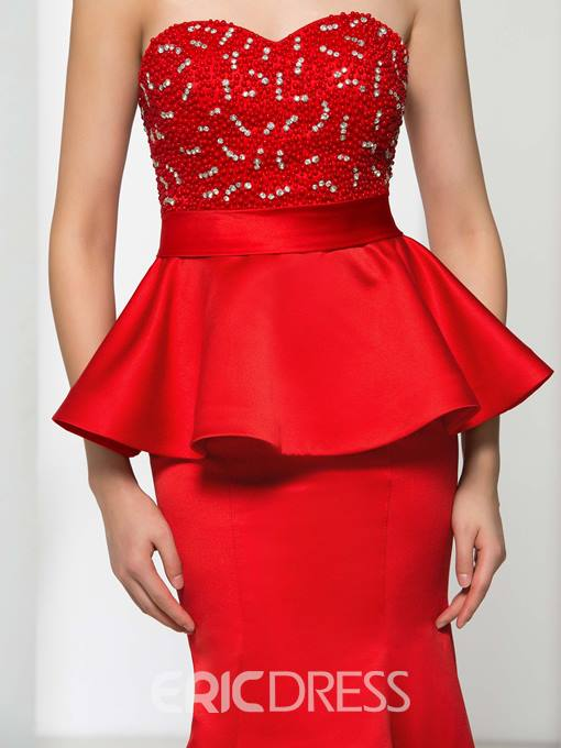 Ericdress Sweetheart Beading Ruffles Evening Dress