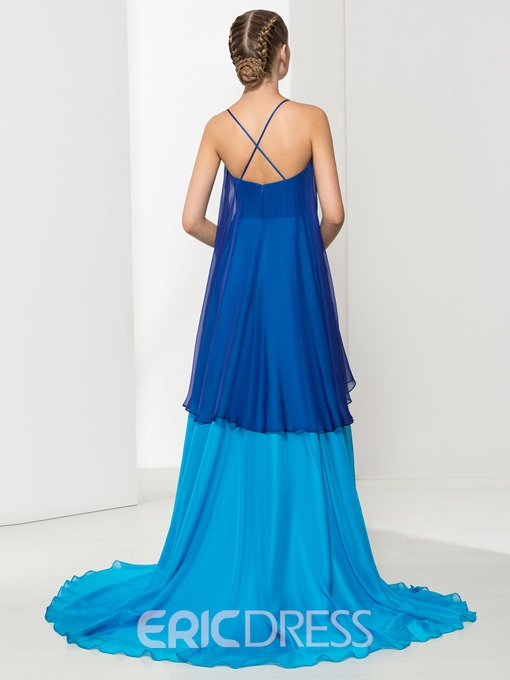 Ericdress A-Line Spaghetti Straps Tiered Long Evening Dress
