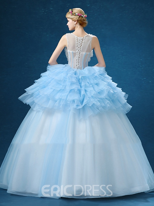 Ericdress Bateau Neck Ball Gown Ruffles Flowers Floor-Length Quinceanera Dress
