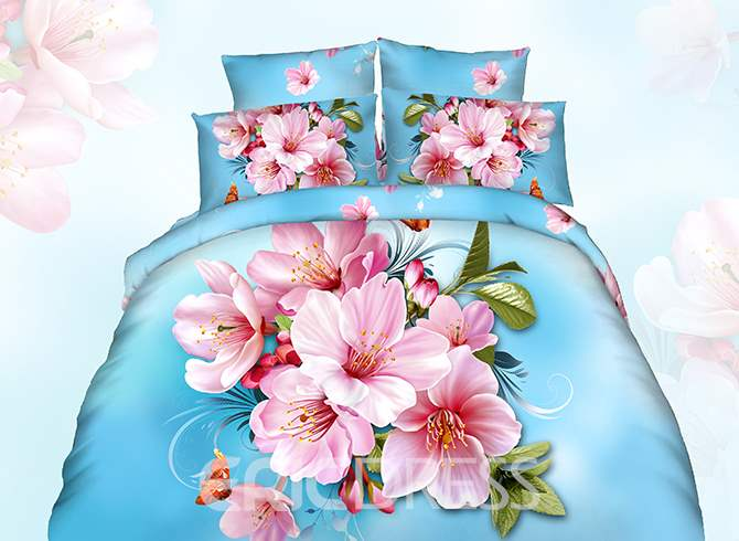Vivilinen 3D Pink Peach Blossom Printed Cotton 4-Piece Blue Bedding Sets/Duvet Cover