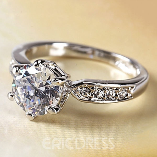 Ericdress Classic 2 Karat Diamante Ring