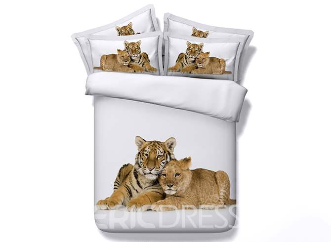 Snuggling Lion Cub and Tiger Cub Printed Cotton 3D 4-Piece White Bedding Sets