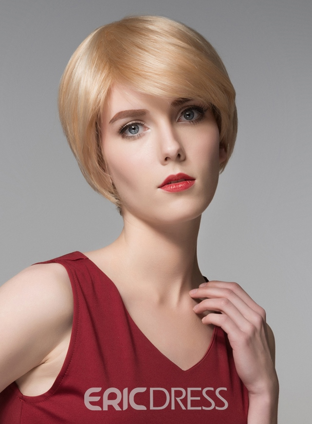 Ericdress Fashionable Short Straight Capless Human Hair Wig 6 Inches