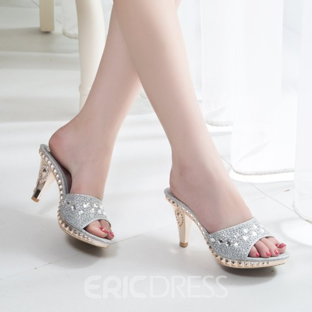 Ericdress Peep Toe Awl Heel Slippers