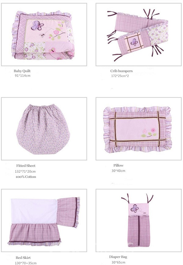 Vivilinen Romantic Purple Butterflies 8-Piece Cotton Baby Crib Bedding Set