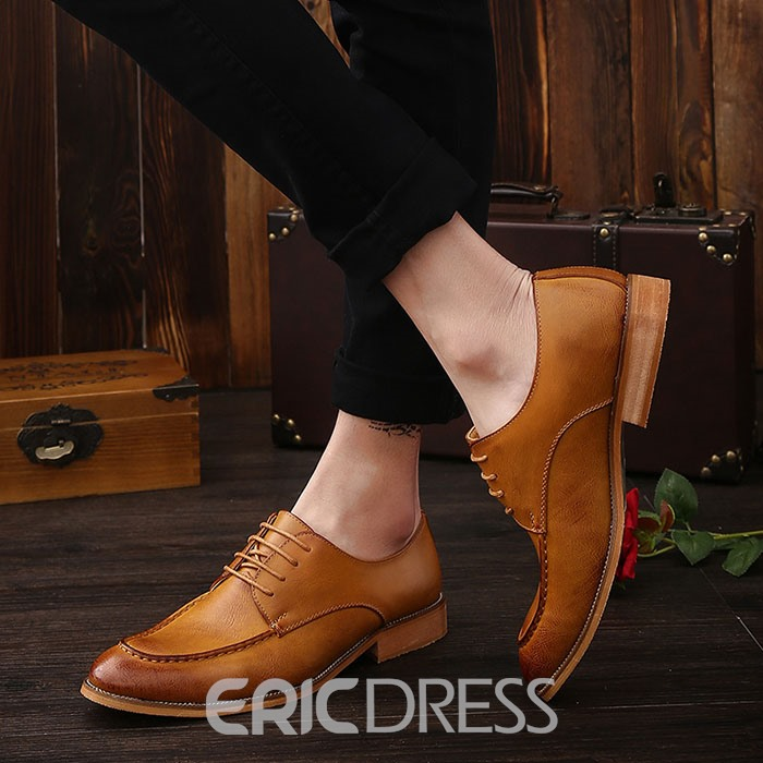Ericdress Solid Color Cross Strap Men's Brogues
