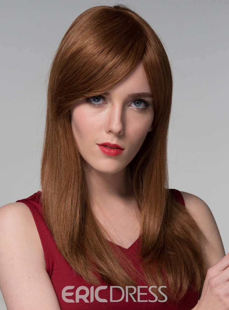 Ericdress Elegant Long Straight Human Hair Wigs 24 Inches