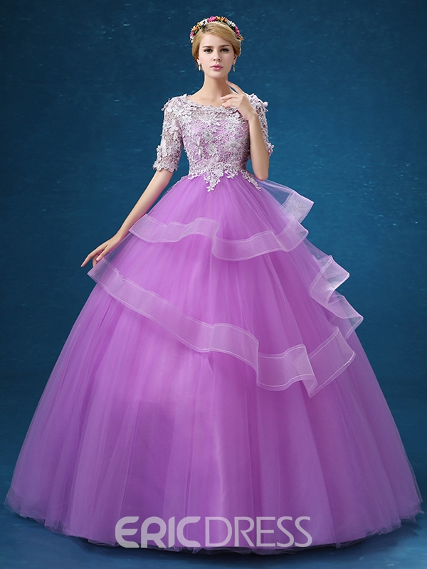 bec7be7c5e8 Ericdress Half Sleeves Ball Gown Scoop Lace Floor-Length Quinceanera Dress