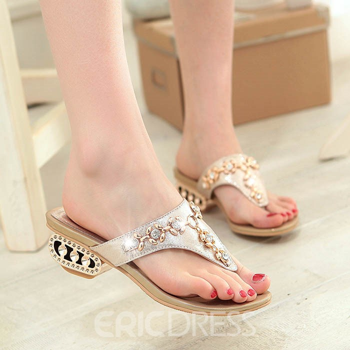 Ericdress Glittering Rhinestone Slip-On Flat Sandals
