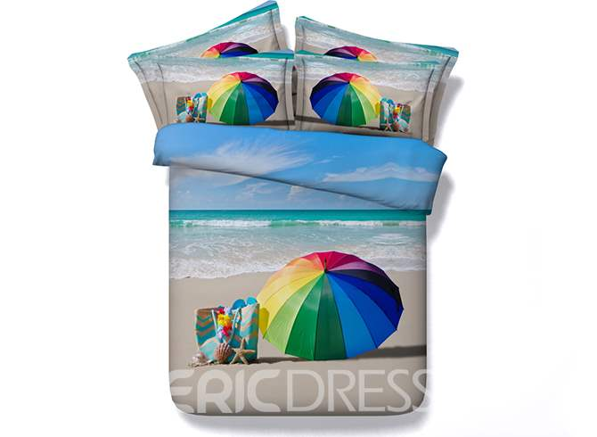 Rainbow Colored Umbrella and Beach Scenery Printed Cotton 3D 4-Piece Bedding Sets/Duvet Covers