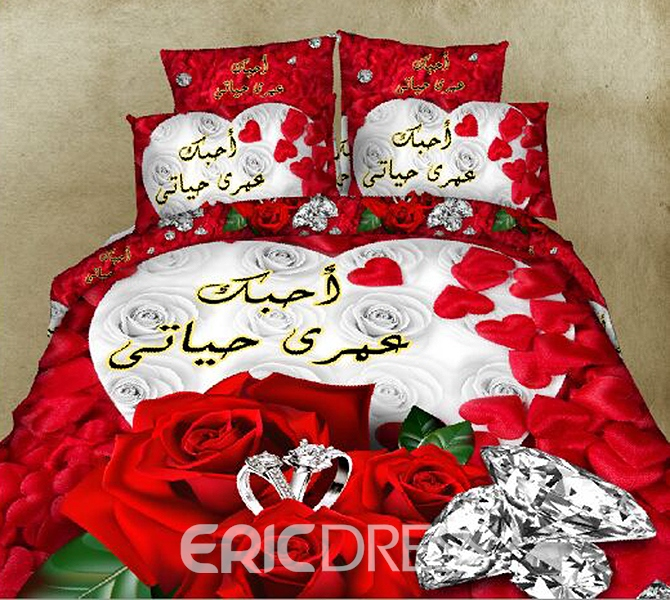 Vivilinen White and Red Roses Diamond Printing Polyester 4-Piece Duvet Cover Sets