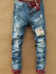 Ericdress Holes Denim Casual Mens Jeans 11679795
