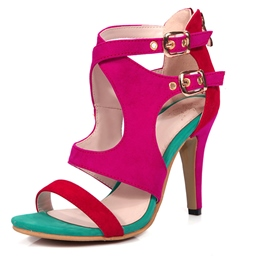 Ericdress Zipper Goblet Heel Color Block Stiletto Sandals