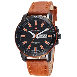 Men's Leather Waterproof Watch