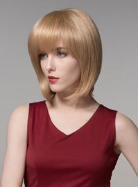 Ericdress Bob Hairstyle Medium Straight Full Bangs Capless Human Hair Wig 12 Inches