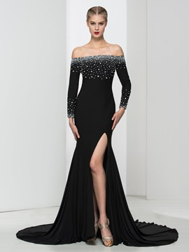 Ericdress Off The Shoulder Split-Front Beading Evening Dress