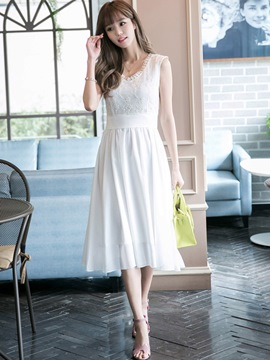 Ericdress Lace Chiffon Patchwork Sleeveless Expansion Casual Dress
