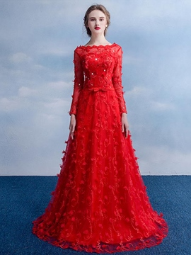 Ericdress Syunning A-Line Bateau Sequins Lace Floor-Length Evening Dress
