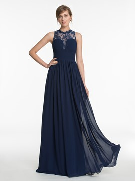 Ericdress Jewel Neck Lace Long Bridesmaid Dress