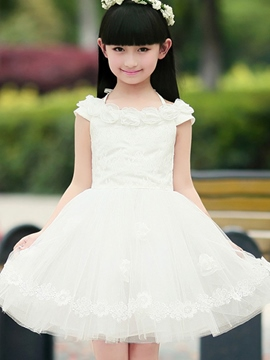 Ericdress Slash Neck Girls Dress