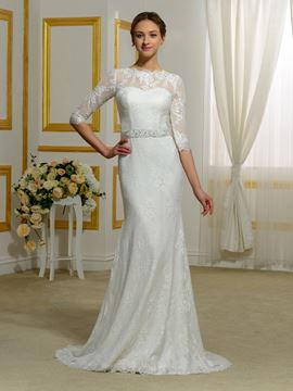 Ericdress Jewel Half Sleeves Lace Sheath Wedding Dress