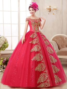 ericdress off-the-Schulter Ballkleid Appliques bodenlangen Quinceanera Kleid