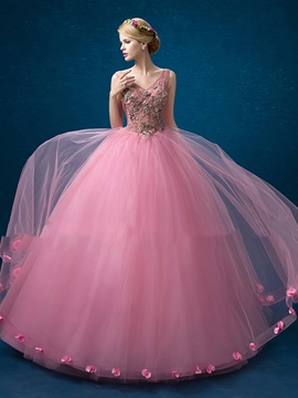 b9a743e57f Ericdress V-Neck Ball Gown Appliques Flowers Floor-Length Quinceanera Dress