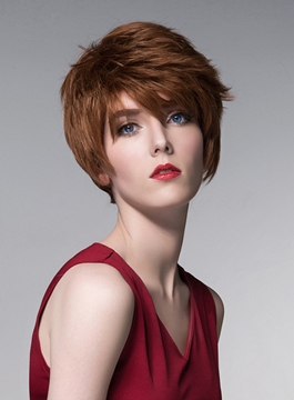 Ericdress Layered Short Straight Human Hair Capless Wig 6 Inches